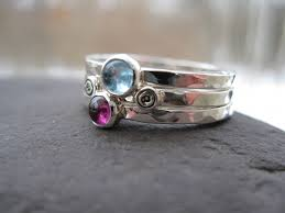 stackable birthstone rings mothers stacking rings sterling birthstones inscribed bands