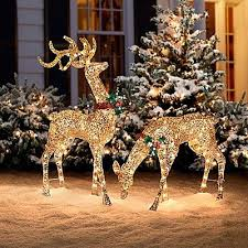 outdoor reindeer decorations lighted