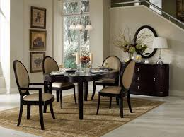 Black And Cream Dining Room - cream and white turkish pattern carpet oval black frame mirror