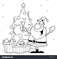 black white coloring page outline santa stock illustration