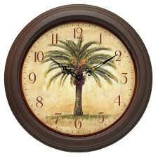 cabana 12 inch brown palm tree resin wall clock free shipping on