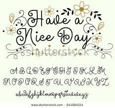 calligraphy tattoo alphabet english script lowercase stock vector