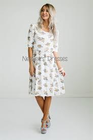 peach cream floral modest dress cute modest church dresses