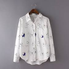 button blouses tb138 fashion white print blouses pocket