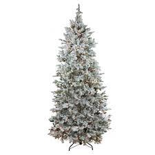 7 5 pre lit flocked slim colorado spruce artificial tree
