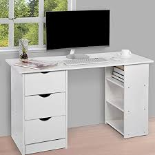 table with drawers and shelves computer desk with 3 drawers and 3 shelves home office pc table