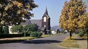 people going to small town christian church 1940s vintage film