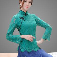 bell sleeve green lace chinese mandarin collar blouse