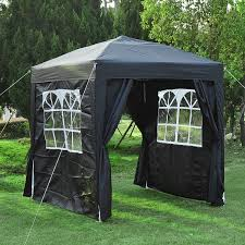 Uk Canopy Tent by Outsunny Pop Up Gazebo Party Tent 2 Windows 2 Doors Black Aosom