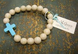 beads with cross bracelet images Livngrace petrified wood beads with turquoise cross bracelet jpg