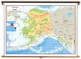 Alaska Topo Maps by Alaska State Physical Classroom Map From Academia Maps