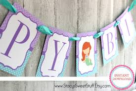 ariel birthday banner amelia pinterest ariel banners and