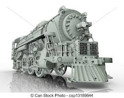 drawing of old locomotive computer generated 3d illustration