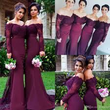 maroon and gold wedding 2017 maroon mermaid bridesmaid dresses shoulder