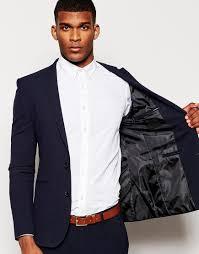 asos skinny suit jacket in micro texture in navy in blue for men