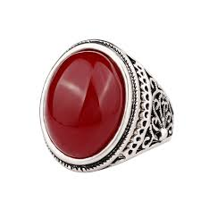 red jewelry rings images Silver antique rings big oval black red stone ring designs carved jpg