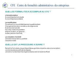 cfe siege social du centre de formalités administratives des entreprises ppt