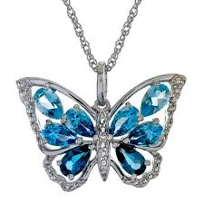 butterfly pendant necklace silver images Sterling silver topaz butterfly pendant