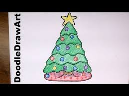 Animated Pictures Of Christmas Decorations by Drawing How To Draw A Cute Cartoon Christmas Tree Easy Step By