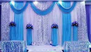 White Curtains With Pom Poms Decorating 3m 6m Milk White Wedding Backdrop Curtains Lake Blue Swag With