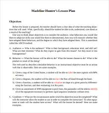 sample madeline hunter lesson plan template 7 free documents in