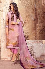 Mauve Color by Party Wear Mauve Color Organdy Cotton Suit Naa102