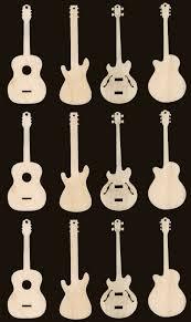12 guitar ornaments 3 inches craft wood cutouts