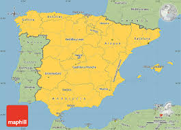 spain on a map savanna style simple map of spain