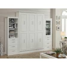 gabriella queen murphy bed with 2 storage cabinets white mdh