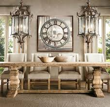 salvaged wood trestle table from restoration hardware traditional