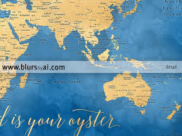 Australian World Map by Printable Cobalt Blue And Gold World Map With Cities 36x24