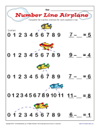 kindergarten number lines subtraction number line airplane kindergarten 1st grade math