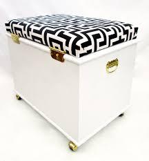 vtg white faux bamboo rolling storage bench trunk ottoman