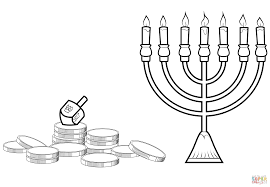 hanukkah menorah dreidel and gelt coloring page free printable