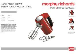 Morphy Richards Accent Toaster Red Morphy Richards Hand Mixer 300w 5 Speed Turbo