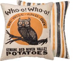 Wise Decor by Wise Owl Potato Sack Pillow Vintage Halloween Advertising Decor