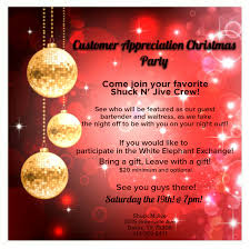 customer appreciation christmas party xmas flyer u2013 shuck n jive