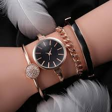 bracelet wrist watches images New luxury watch set women gold ball pendant long leather bracelet jpg