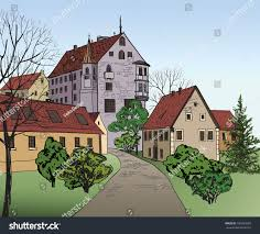 house with tower pedestrian street old european city tower stock vector 180639095