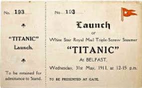 auction offers original titanic launch ticket first class dinner