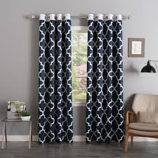 decor bronze grommet curtain in navy with curtain rods and