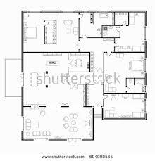 interior floor plans black white floor plans modern apartment stock vector 604990565