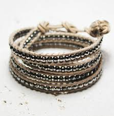 leather wrap bracelet with stones images Vanilla and pewter leather wrap bracelet by decadorn jpg