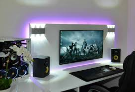 Coolest Speakers Extremely Clean Pc Gaming Setup With Cool Lighting A Nice Pair Of