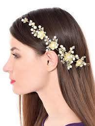 hair online india buy prita silver brass foldable floral hair clip with pins