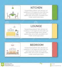 infographic elements interior design kitchen lounge bedroom