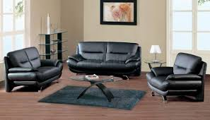 American Living Room Furniture Black Leather Contemporary 7068 Sofa W Front Metal Legs
