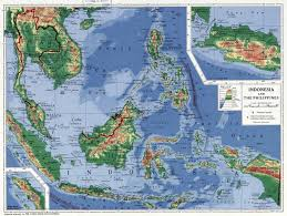 Physical Map Of Asia by Large Detailed Physical Map Of Indonesia And The Philippines