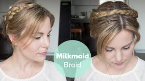 tutorial milkmaid braid for short hair youtube