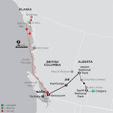 Alaska City Map by Western Canada Train Tour W Alaska Cruise Cosmos Tours